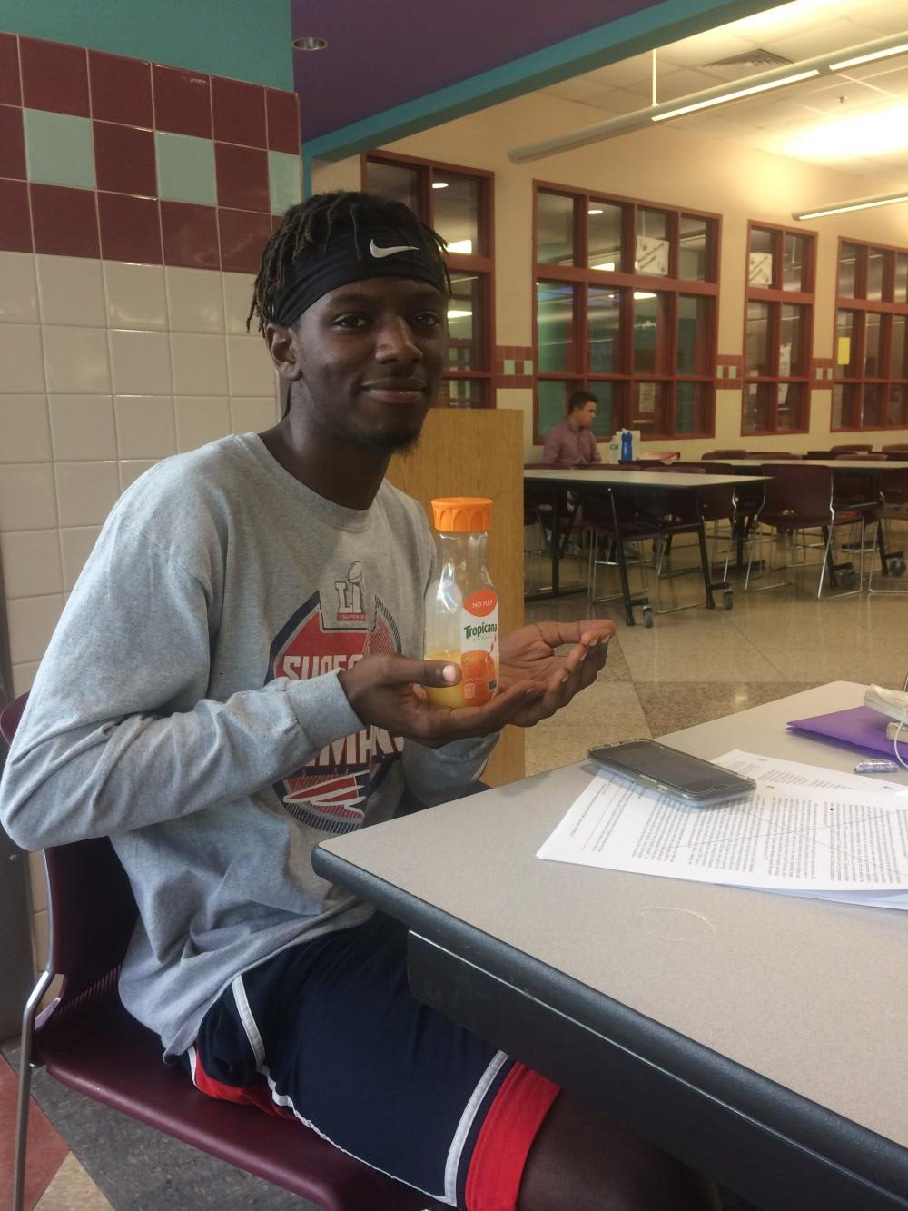 Senior Shama Simmons abides by the newly revised food policy.