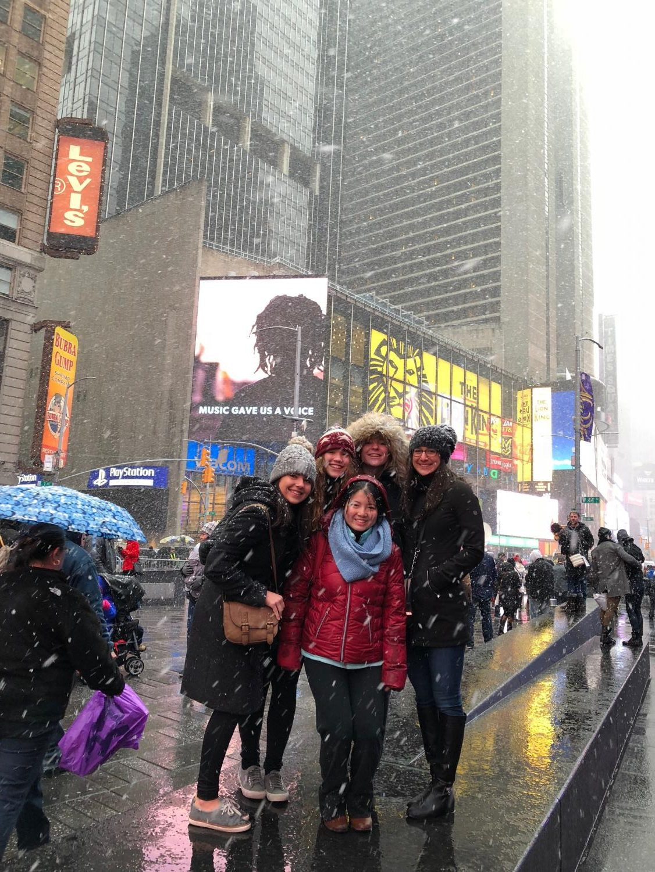Seniors Hannah LeBaron, Mila Schowtka, Courtney Burrow, Alina Hachigian, and Grace Wang exploring Times Square during the Spanish literature field trip to New York City.
