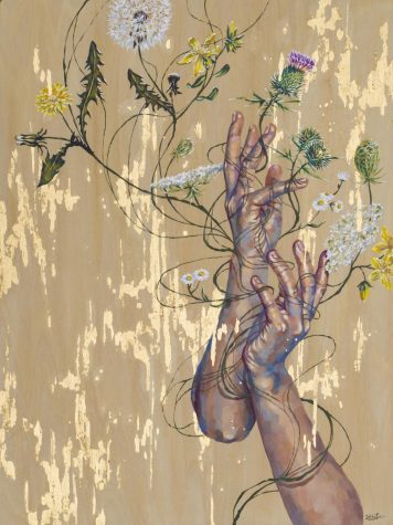 "In this piece, titled ""weeds"", Liu challenges the importance beauty standards and compares it to flowers and weeds."