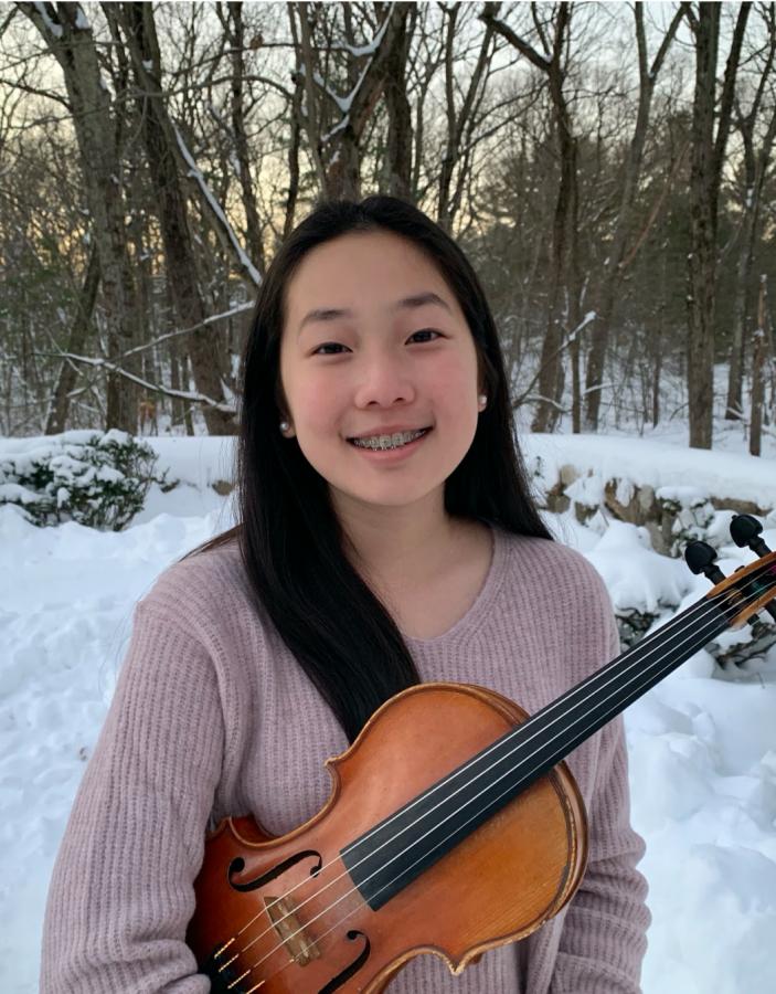 Ella Kim with her violin.