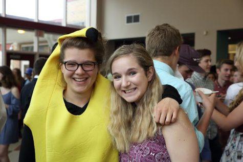 Seniors Clara Babbott-Ward and Catherine Argyrople on their last day of high school
