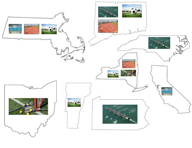 Map of College Athletes PHOTO/Holly Hardiman and Lizzie Racklin