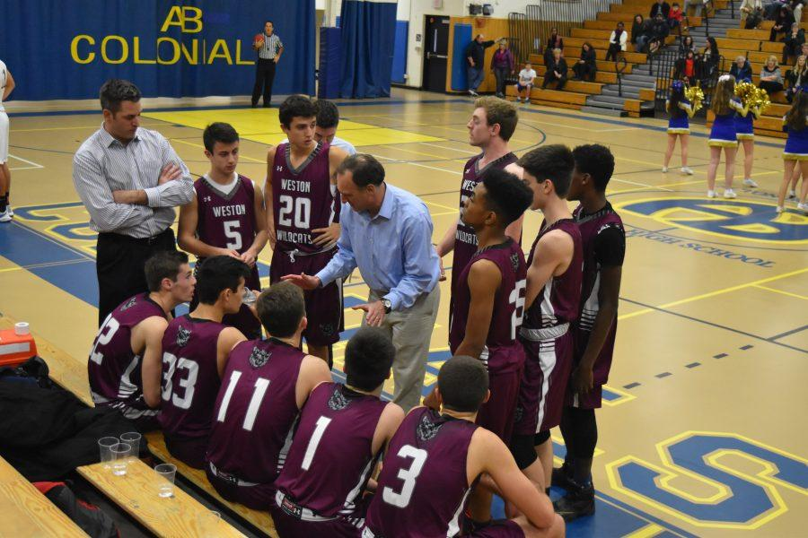 First coaches up the wildcats in their gritty 65-54 win over Acton-Boxborough as the wildcats collect their first win of the year. PHOTO