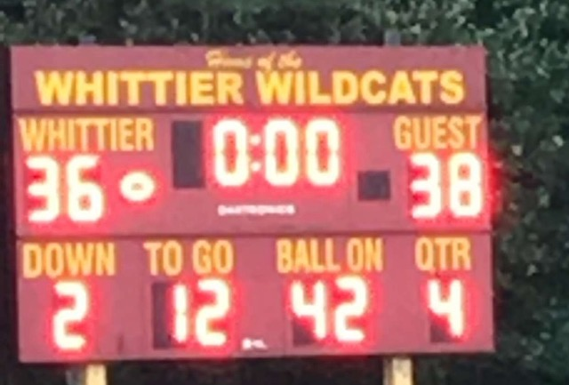 Weston Football improves to 3-1 on September 28th  as they beat Whittier Tech 38-36 with 23 seconds left on the clock.