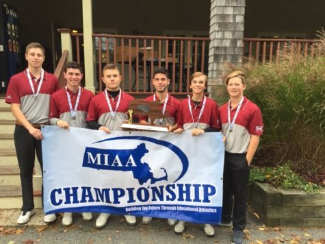 Weston High School varsity golf team holds a banner after winning the MIAA championship. Pictured left to right: senior Noah Igel-Dunn, junior Sam Ross, senior Cooper Griffn, junior Jacob Finard, freshman J.P. Noone, freshman Finn Maher.