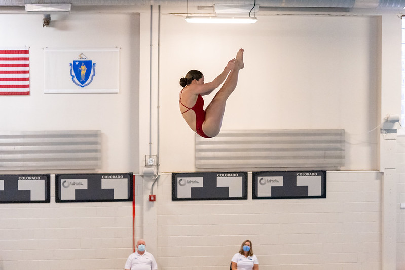 Charlotte Martinkus gets such height on her dive, she almost touches the ceiling