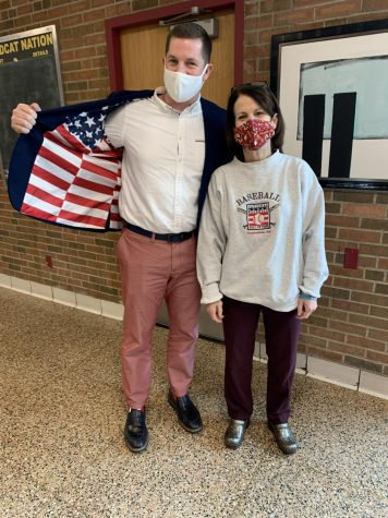 Paul Peri and Kelly Flynn pose for a photo during school spirit week.