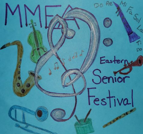 Drawing made by Rajan depicting the Eastern Senior District Festival and the various categories—voice, strings, winds and percussion, and jazz.