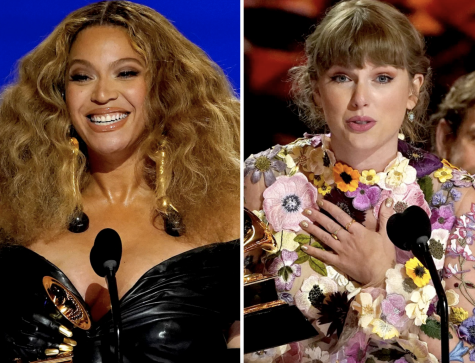 History-making artists, Beyoncé and Taylor Swift, accept their awards.