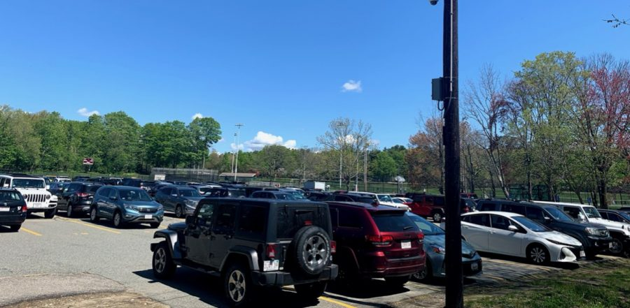 Weston High School parking lot filled with students' cars.