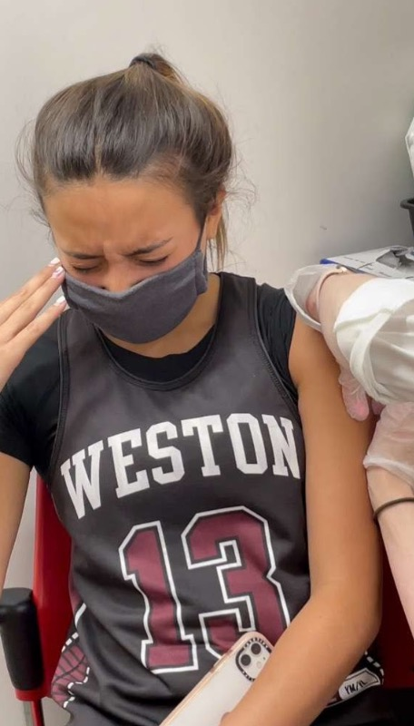 Student+gets+her+second+dose+of+the+Pfizer+vaccine.+