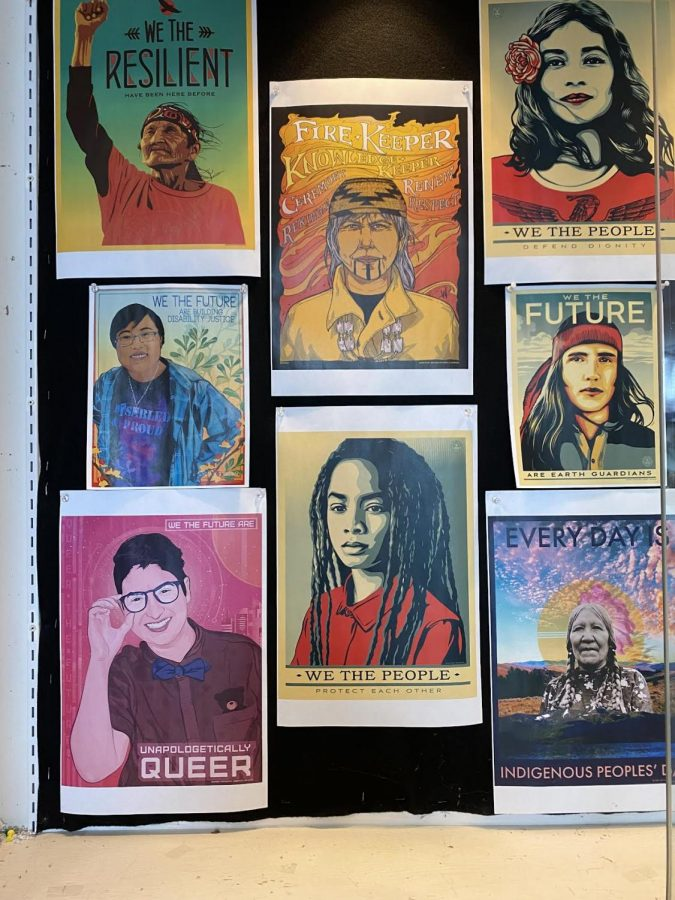 Diversity posters hang in library display case